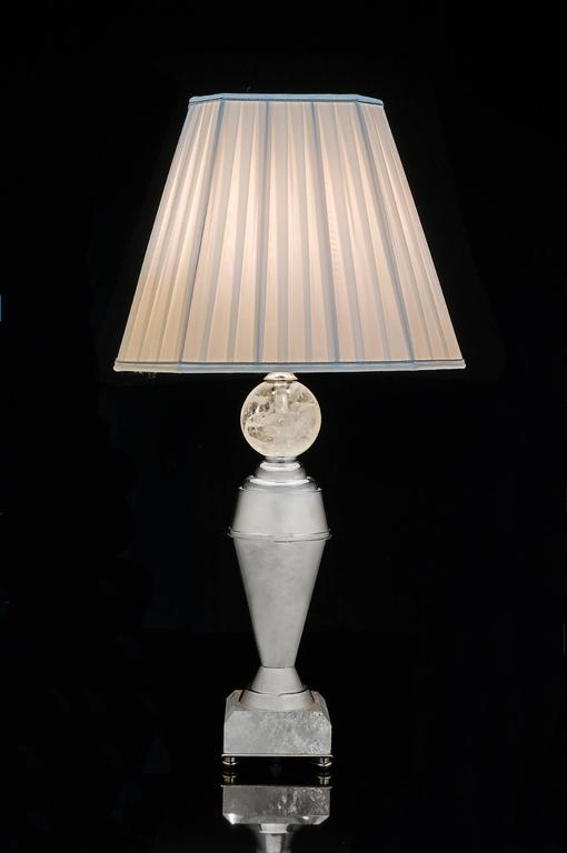 Rock Crystal Art Deco Pair of Lamps by Alexandre Vossion 3