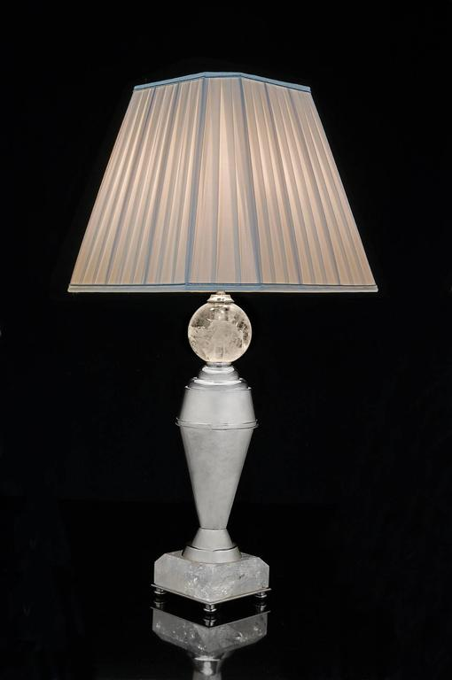Rock Crystal Art Deco Pair of Lamps by Alexandre Vossion 4