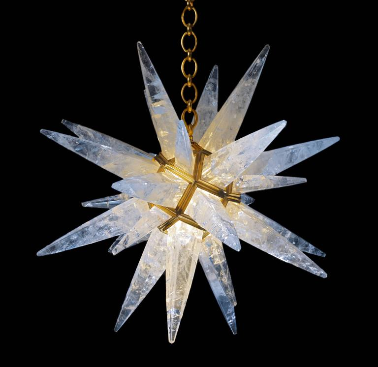 Exclusive rock crystal star chandeliers set. Rock crystal star I and rock crystal quartz star III chandeliers. Rock crystal star I measures: 30 inches diameter. Rock crystal star III measures: 18 inches diameter. You can also create your own sky of