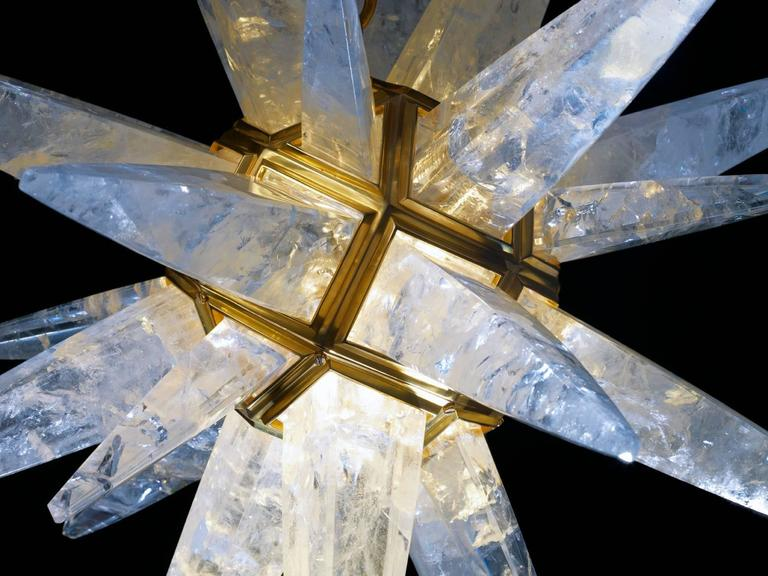 Art Deco Rock Crystal Star Chandeliers by Alexandre Vossion For Sale