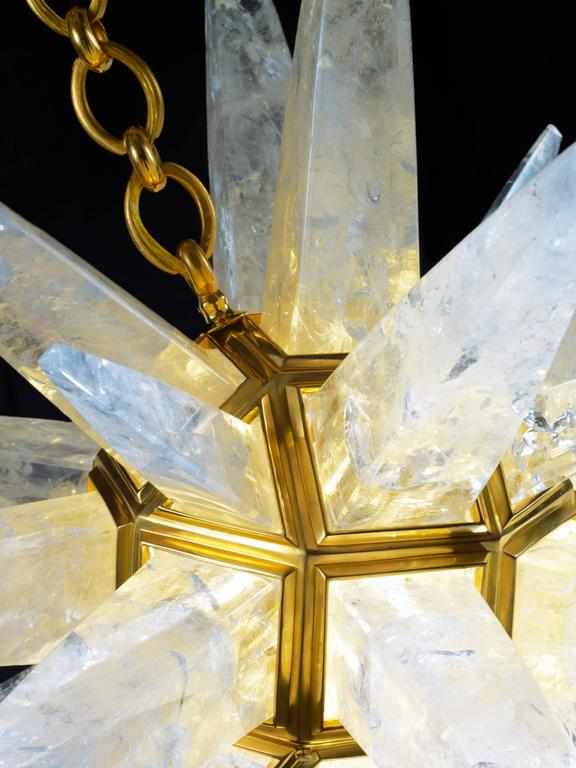 French Rock Crystal Star Chandeliers by Alexandre Vossion For Sale