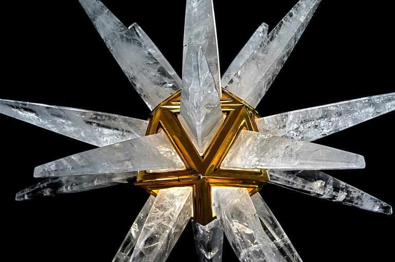 Rock Crystal Star Chandeliers by Alexandre Vossion For Sale 1