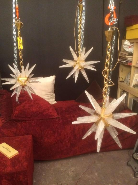 Pair of Rock Crystal Star Chandeliers by Alexandre Vossion For Sale 2