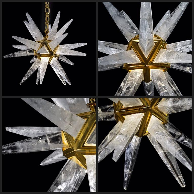 Bronze Pair of Rock Crystal Star Chandeliers by Alexandre Vossion For Sale