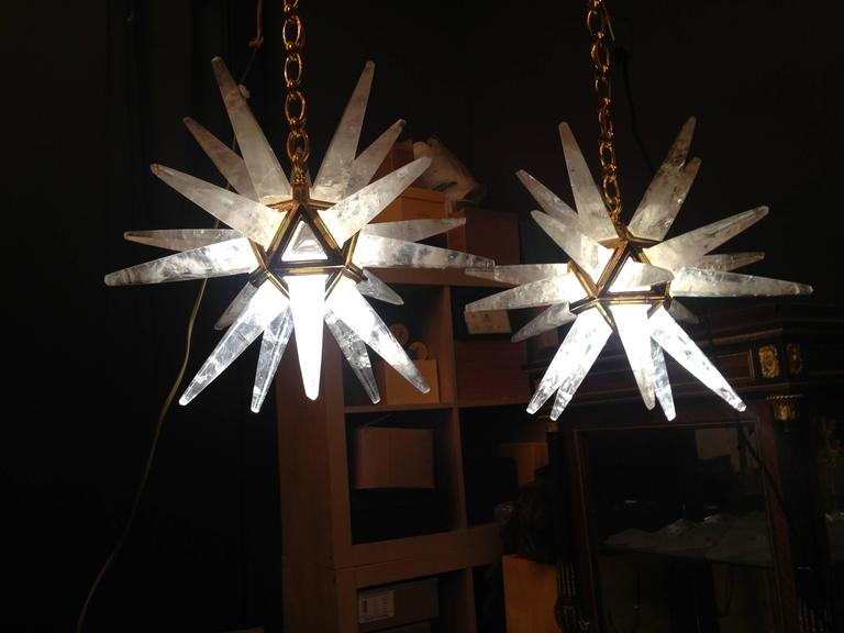 Pair of Rock Crystal Star Chandeliers by Alexandre Vossion For Sale 1