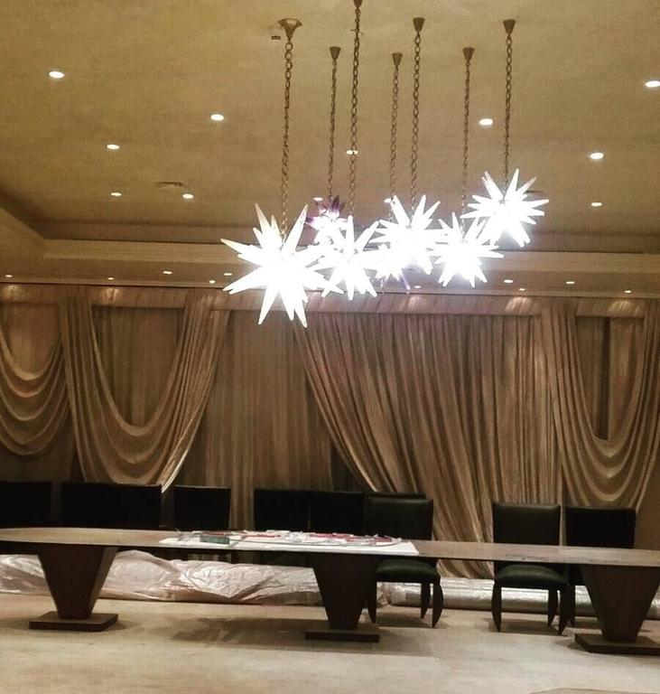 Pair of Rock Crystal Star Chandeliers by Alexandre Vossion For Sale 3