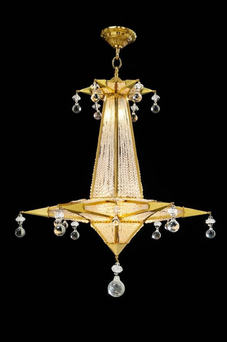 Modern Rock Crystal Chandelier by Alexandre Vossion For Sale