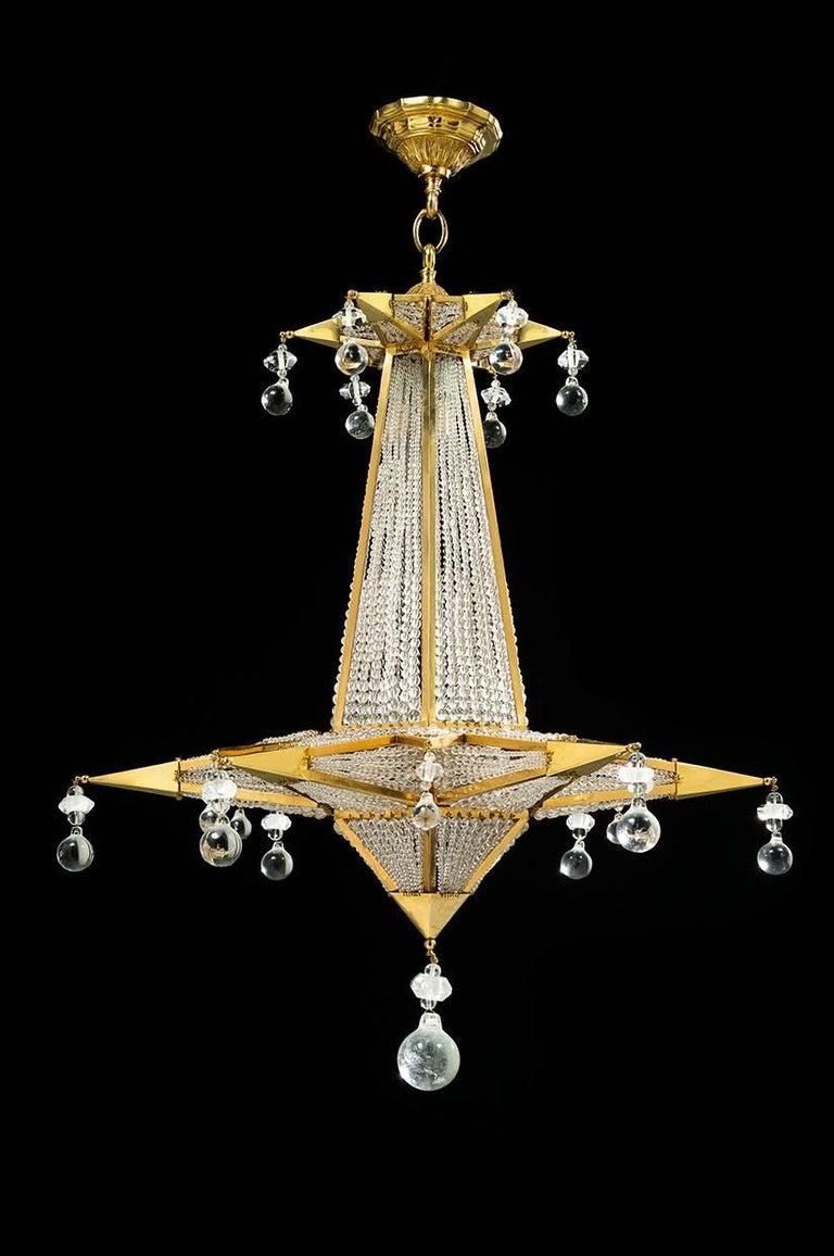 French Rock Crystal Chandelier by Alexandre Vossion For Sale