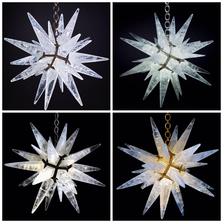Bronze Rock Crystal Black Star Chandelier by Alexandre Vossion For Sale