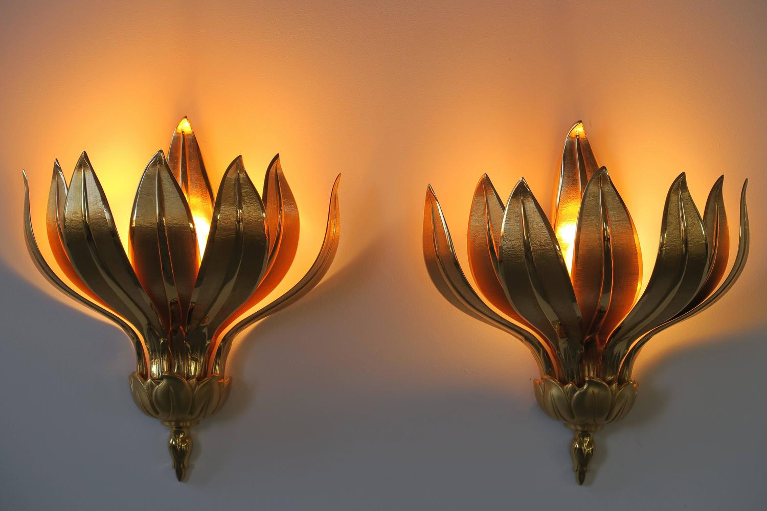 Pair of Wall Lamps, Ananas Bronze Wall Lamps Lumi, 1970 For Sale at 1stdibs