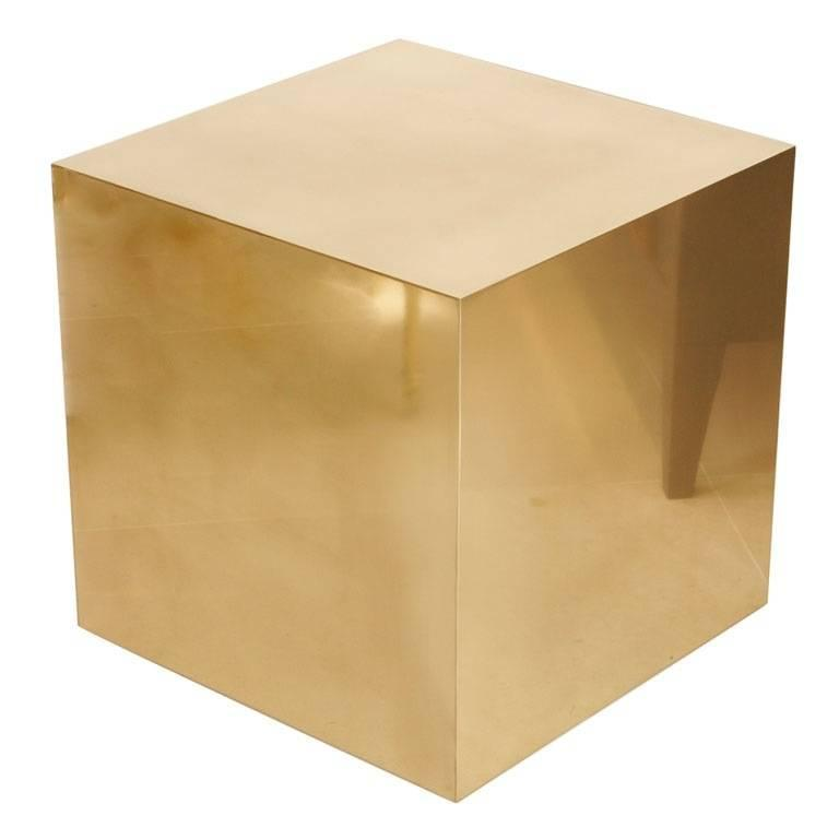 Brass Cube Side Table For Sale