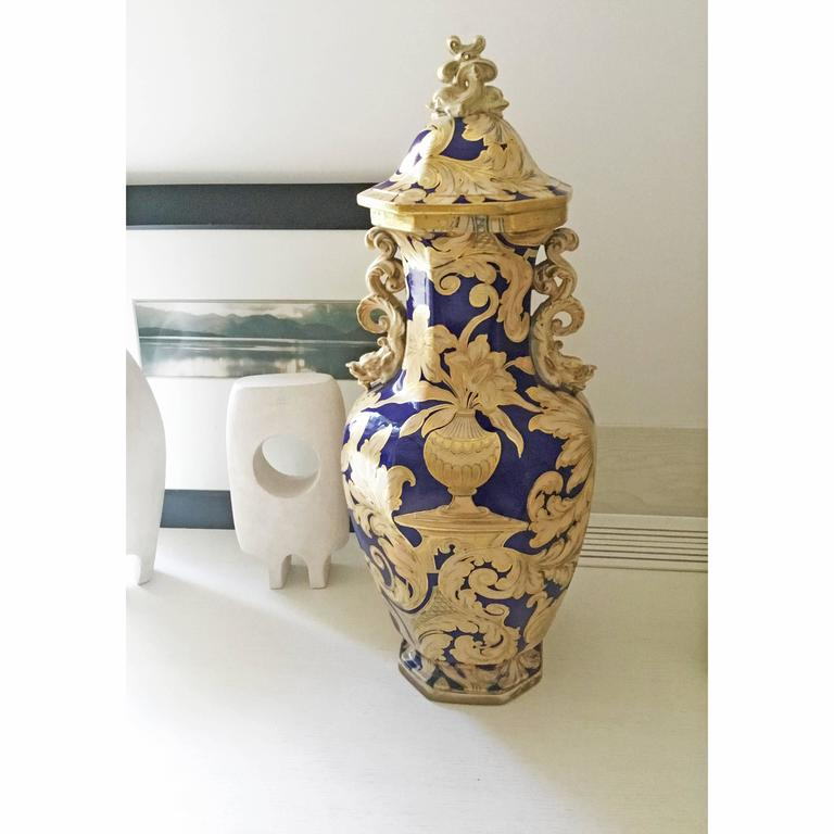 20th Century Oversized Oriental Style Blue And Gold Antique Vase By