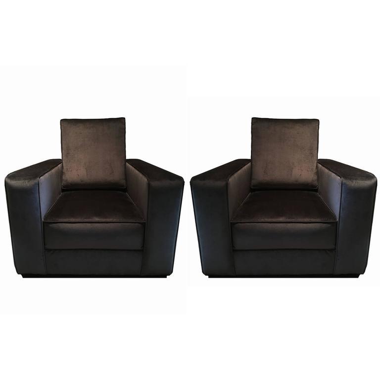 Pair of Black Velvet Art Deco Armchairs, Reupholstered