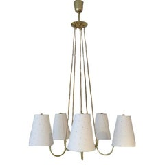 1950s Italian Brass Chandelier with Shades