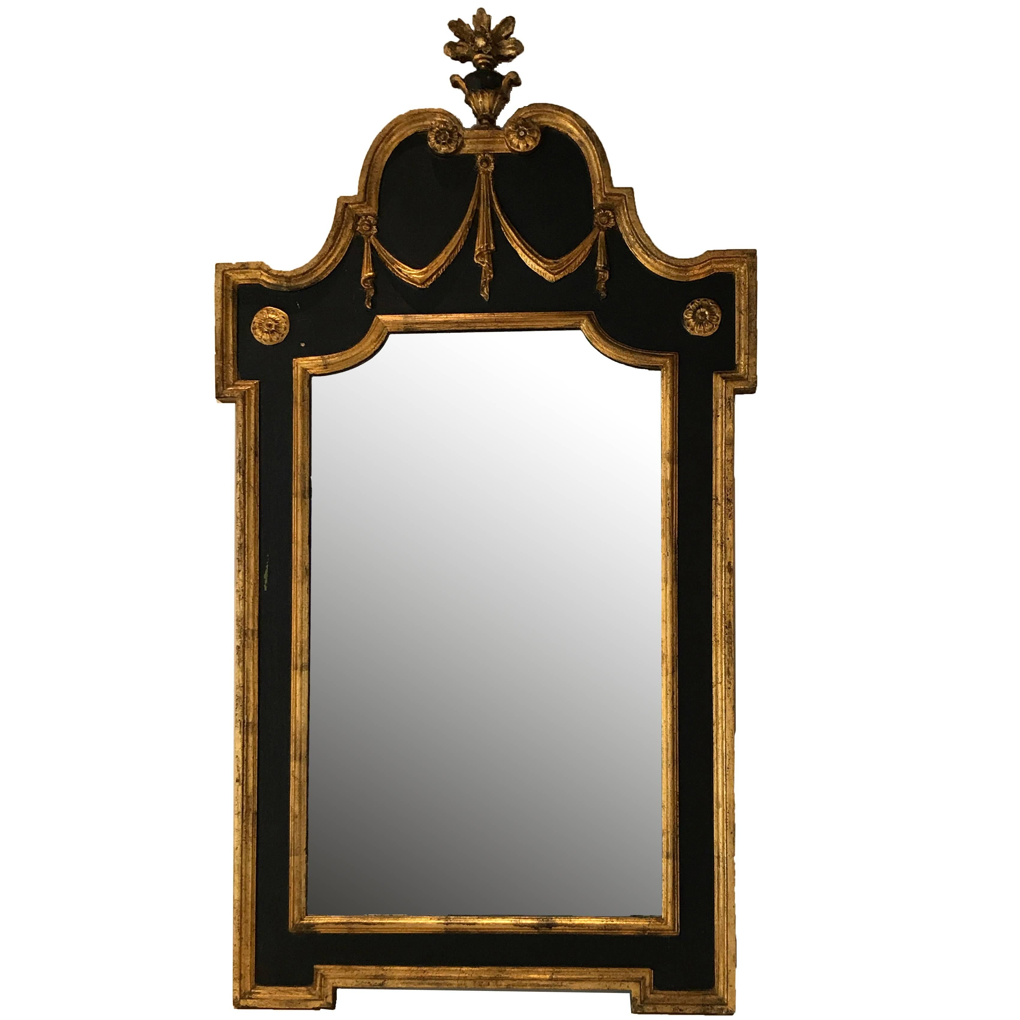 18Th Century Small Antique Mirror With Carved Frame And Original
