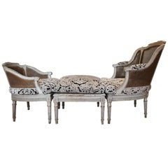 19th Century French Chaise with Wicker