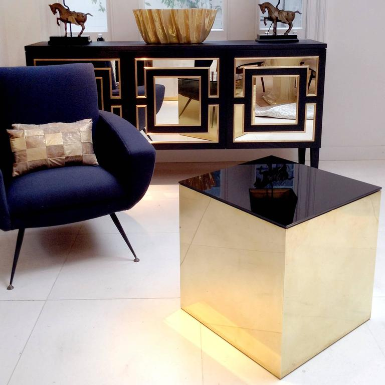 German Brass Cube Side Table For Sale
