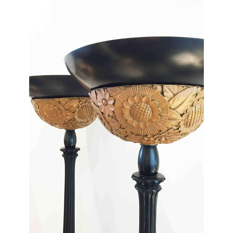 pair of art deco floor lamps for sale at 1stdibs. Black Bedroom Furniture Sets. Home Design Ideas