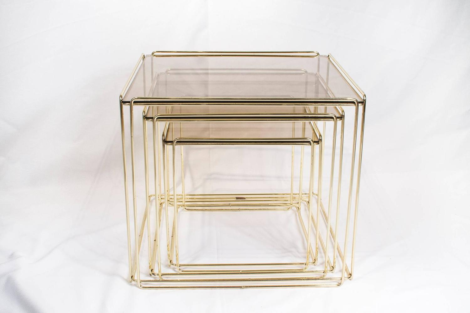 Set Of Three Nesting Tables By Max Sauze France 1970s Gold Metal And . Full resolution  photo, nominally Width 1500 Height 1000 pixels, photo with #886D43.