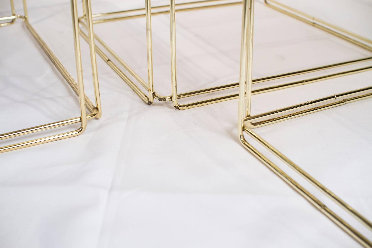 Set Of Three Nesting Tables By Max Sauze France 1970s Gold Metal And . Full resolution  photograph, nominally Width 1500 Height 1000 pixels, photograph with #403317.