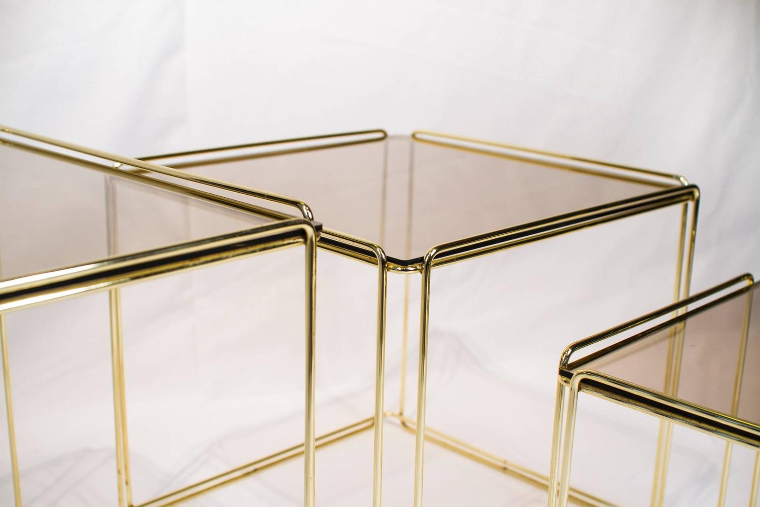 Set Of Three Nesting Tables By Max Sauze France 1970s Gold Metal And . Full resolution  photo, nominally Width 1500 Height 1000 pixels, photo with #604B24.