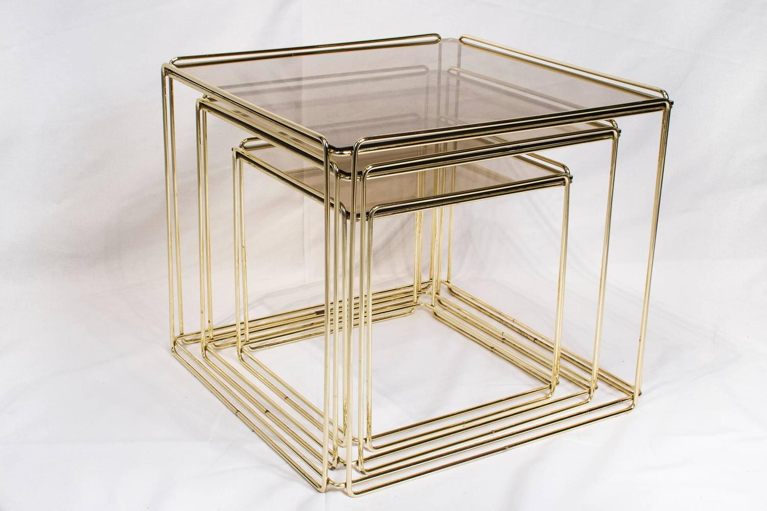 Set Of Three Nesting Tables By Max Sauze France 1970s Gold Metal And . Full resolution  photo, nominally Width 1500 Height 1000 pixels, photo with #8B7240.