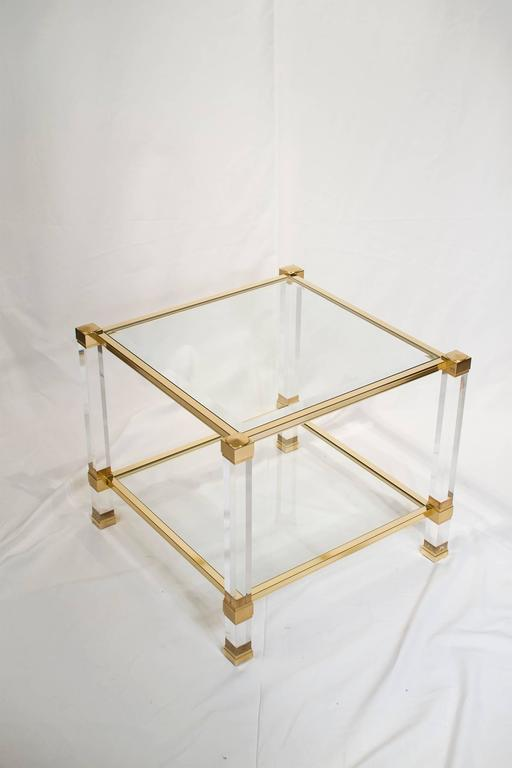 pierre vandel lucite and brass side table france 1970s for sale at 1stdibs. Black Bedroom Furniture Sets. Home Design Ideas