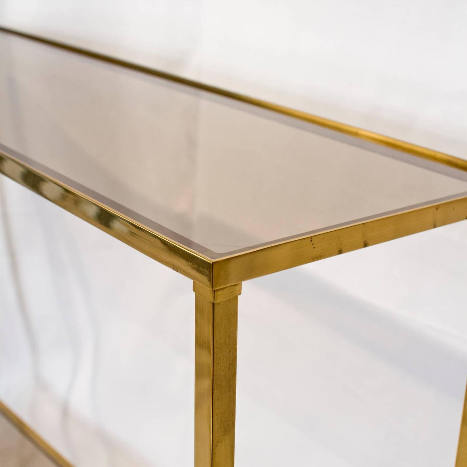 French Brass Console Table With Smoked Glass At 1stdibs