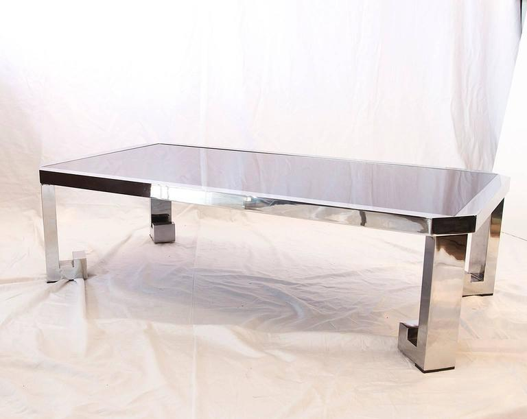 Greek Chrome Coffee Table With Black Glass For Sale At 1stdibs