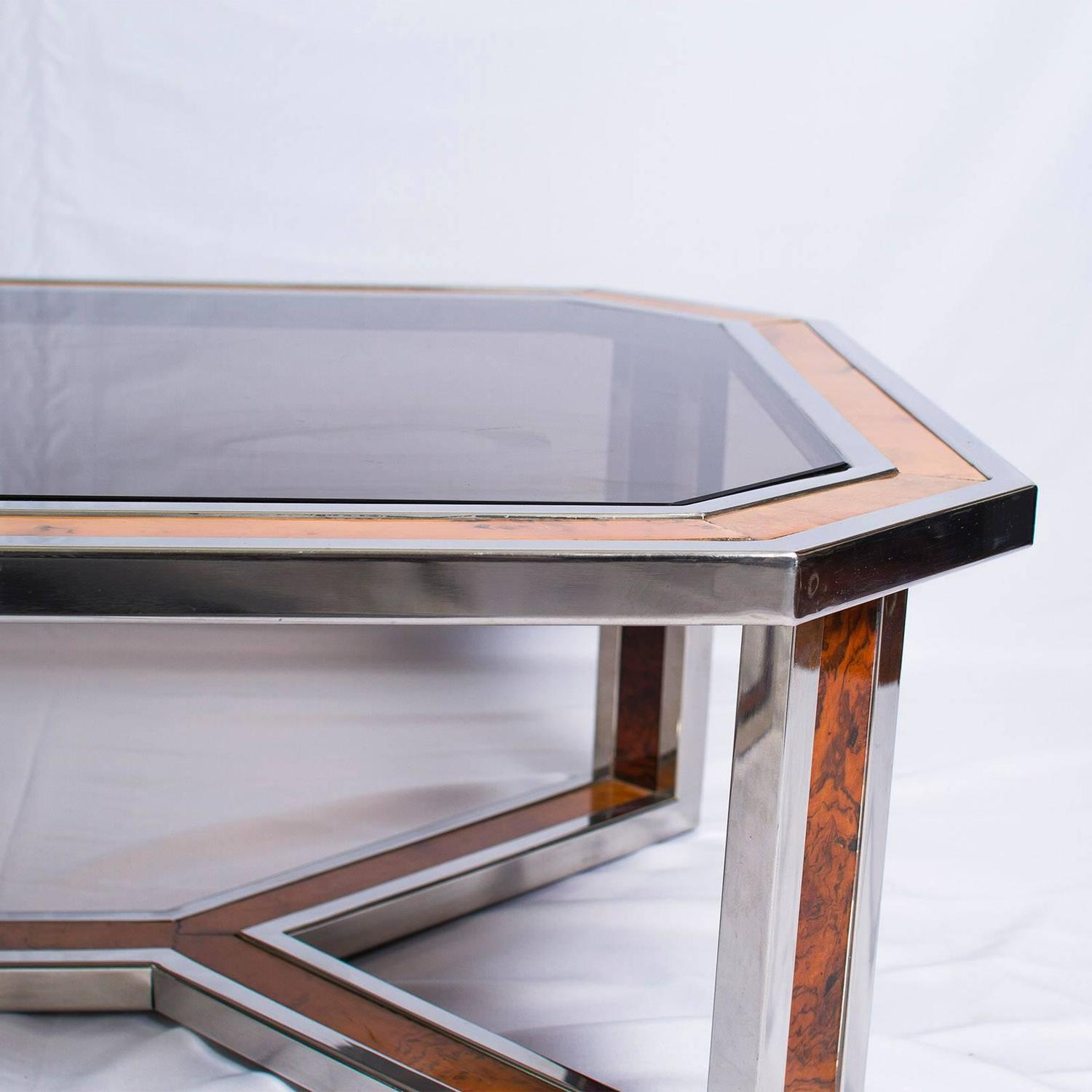 Chrome And Wood Coffee Table By Romeo Rega For Sale At 1stdibs