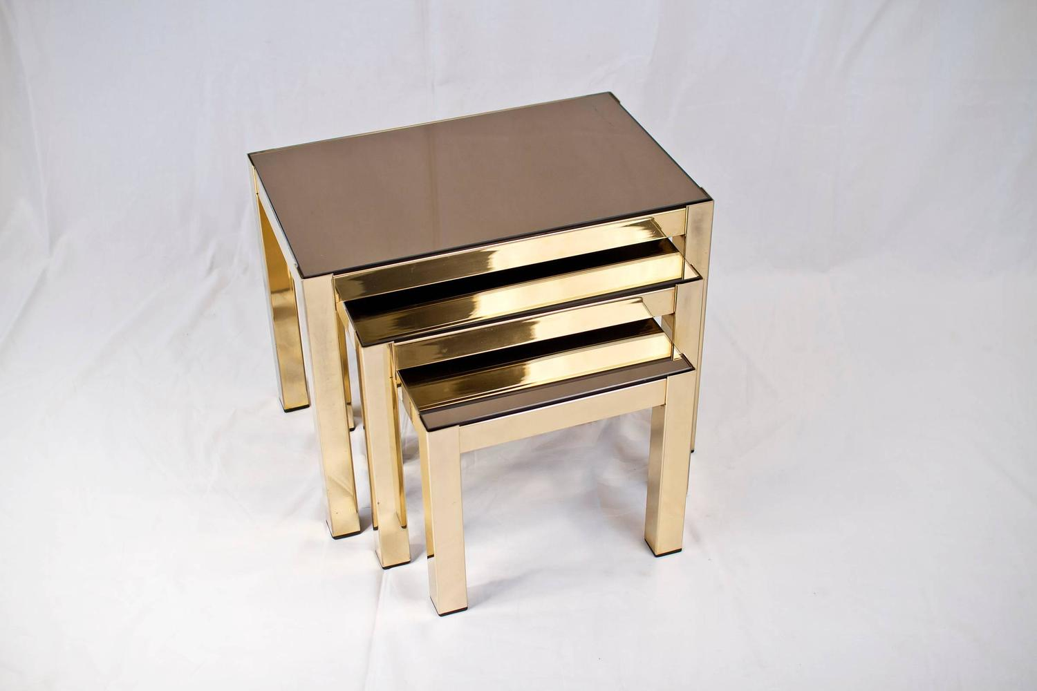 Rare 23 Carat Gold Plated Nesting Tables With Copper Mirror Tops By . Full resolution  photo, nominally Width 1500 Height 1000 pixels, photo with #957036.