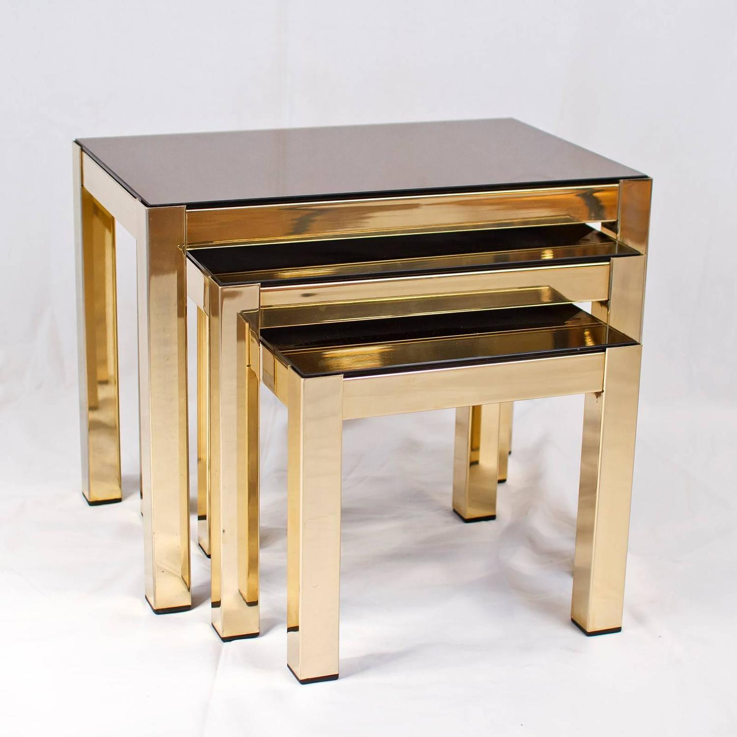 Gold Nesting Tables ~ Rare carat gold plated nesting tables with copper