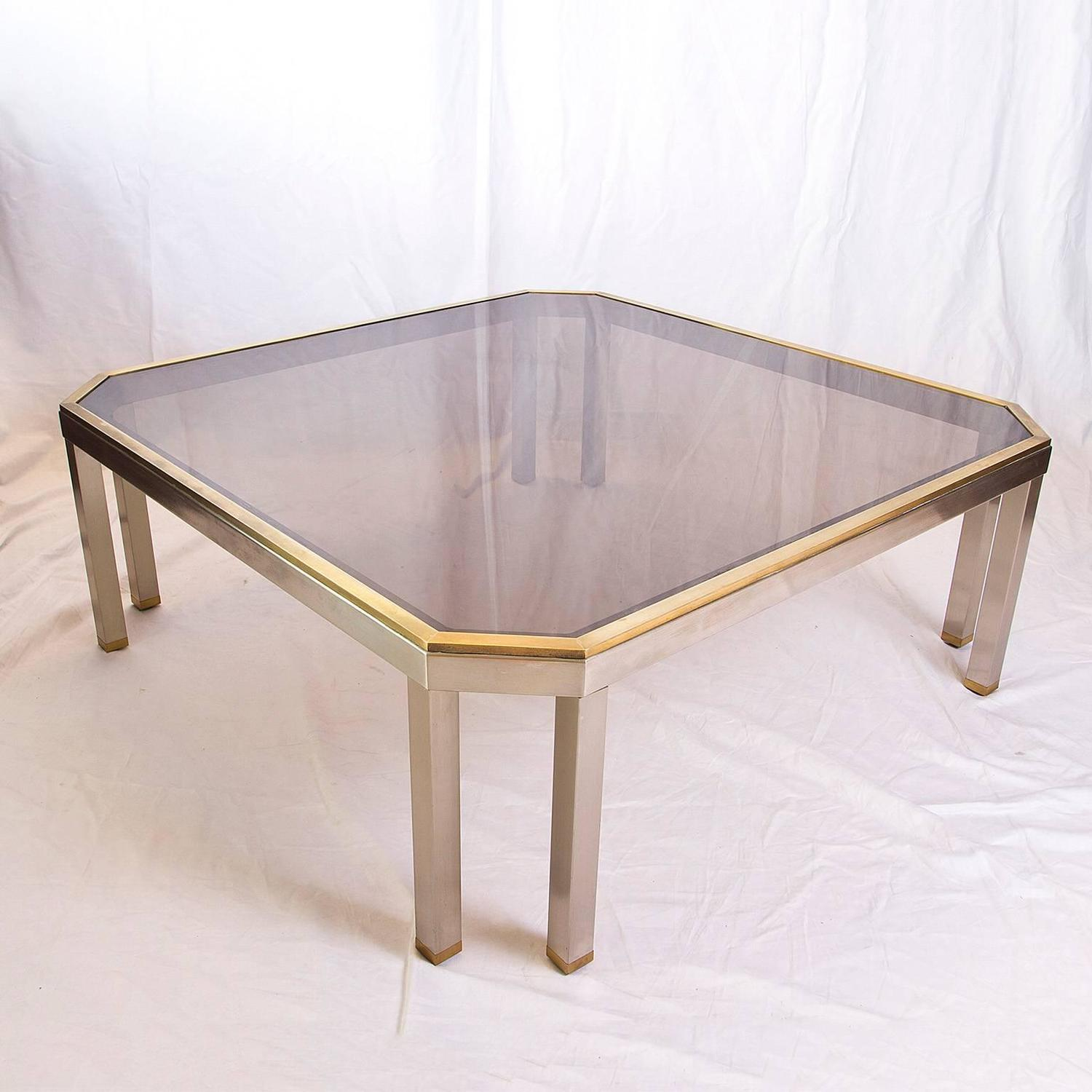 Brushed Steel And Brass Coffee Table In The Style Of Romeo