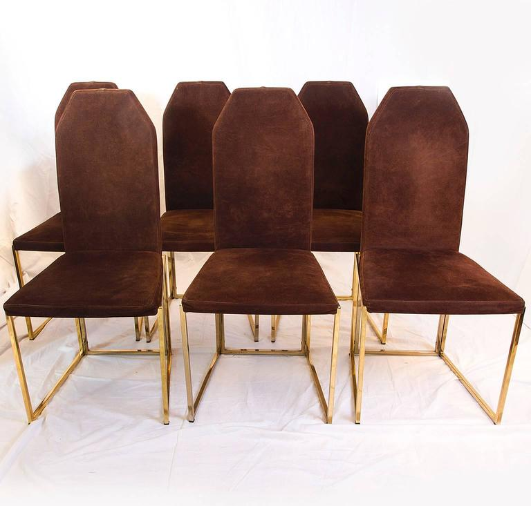 this six golden lacquered steel and suede chairs by belgo chrome is no