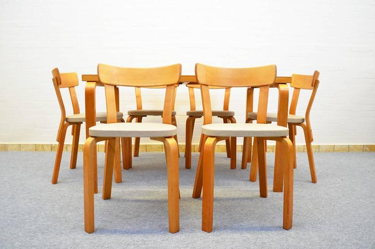 Scandinavian Modern Dining Set by Alvar Aalto for Artek For Sale