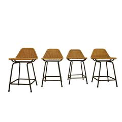 Set of Four 1960s Wicker Stools by Dirk Van Sliedrecht for Rohe Noordwolde