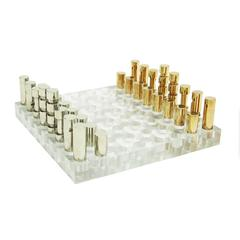 1970s French Lucite, Brass and Chromed Steel Chess Set