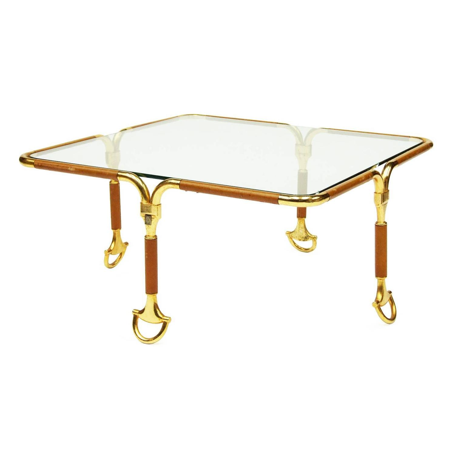 S Leather Gucci Table With Gold Stirrup Feet At Stdibs - Gucci coffee table