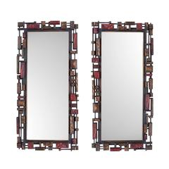 1970s Brutalist Syroco Mirror Pair Available