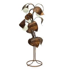 1970s Bronzed Sculptural Palm Leaf Floor Lamp