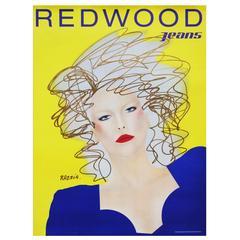 1980s Redwood Jeans Poster by Razzia Pop Art Fashion Illustration