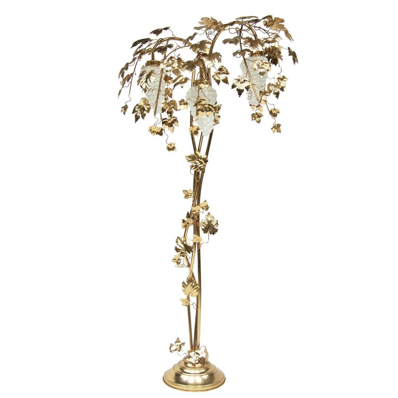 1970s gold vine leaf palm floor lamp at 1stdibs for Floor lamp with vines