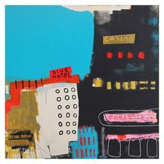'Reservations at the Blue Hotel' Abstract Painting by Alan Fears
