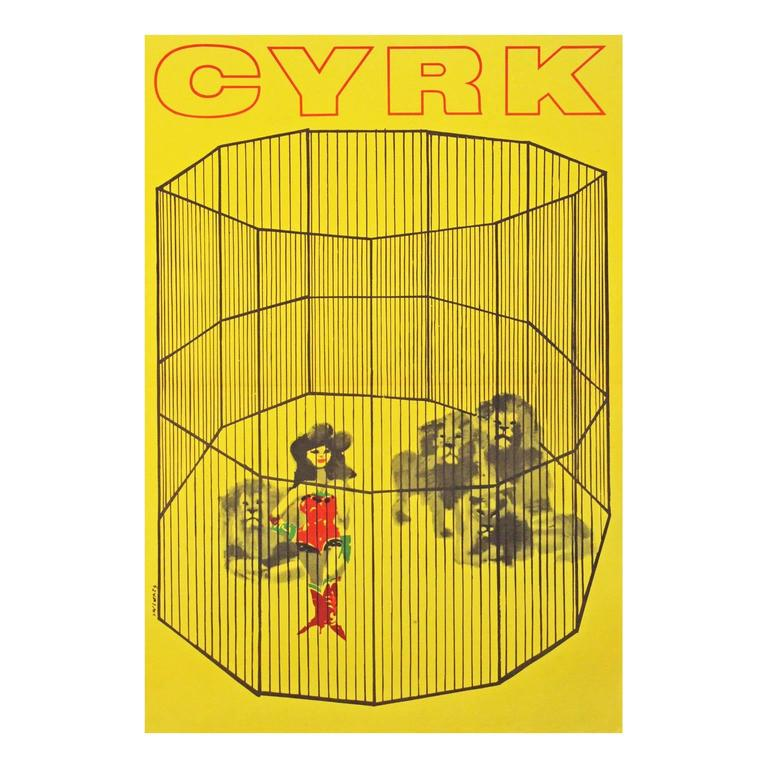 1960s Polish Cyrk Circus Lady Lion Tamer Poster For Sale