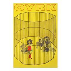 1960s Polish Cyrk Circus Lady Lion Tamer Poster