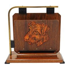 Art Deco Oak and Brass Dog Magazine Rack with Terrier Heads