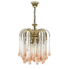 1960s Pink Murano Waterfall Teardrop Chandelier