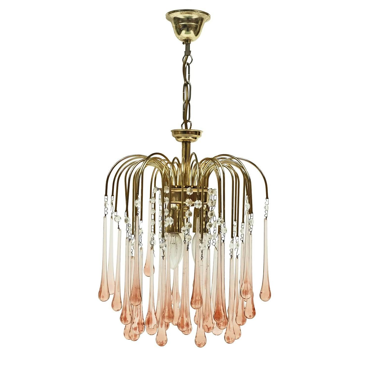 Murano Pink Crystal Teardrop Waterfall Chandelier by Venini