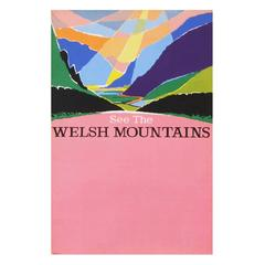 1960s British Transport Welsh Mountains Travel Poster Wales Landscape Art Pink
