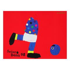 1990s World Cup Soccer Football Poster by Michel Quarez Pop Art